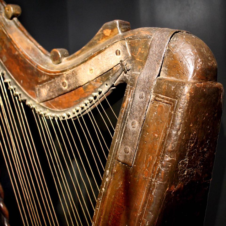 Detail of an old Irish Harp